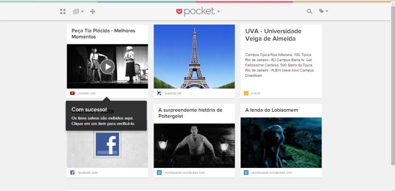 Interface do Pocket