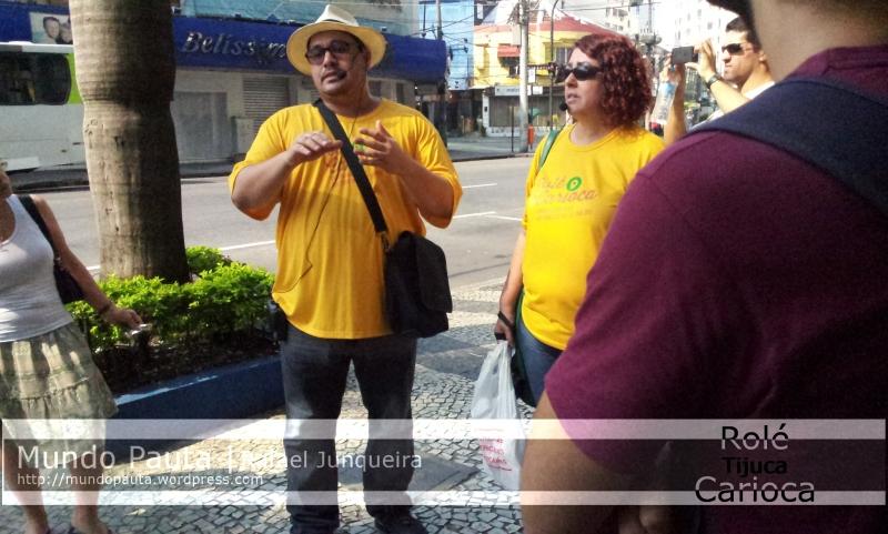 Professores William e Cátia da Estácio falando sobre a história da Tijuca (Foto: Rafael Junqueira / Mundo Pauta)