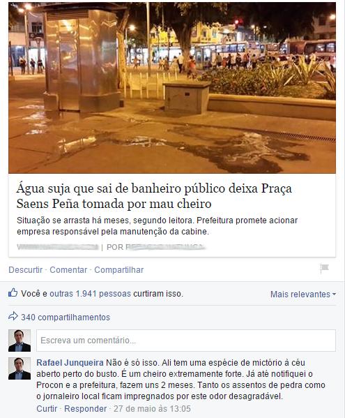 Reportagem um dia antes da remoção do banheiro público - Foto: Silvia Knapp/Na Tijuca/Eu-Repórter